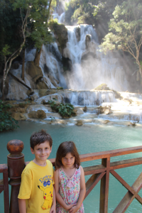 The kids at Kuang Si waterfall