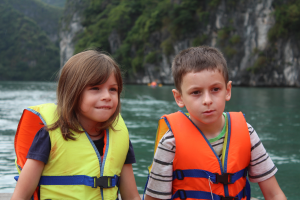 The kids in Ha Long Bay