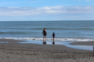 Mum and Daughter on Oakura Beach