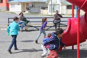 Playing with the locals in Puerto Natales, Torres del Paine
