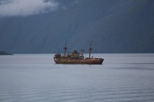 A shipwreck on route, travel on the navimag ferry