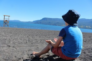 Our son chilling at Lake Villarrica, Pucon