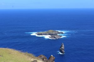 The islands of the Birdman Competition, Rapa Nui. The far island is where the eggs were found.